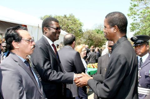 Acting President Edgar Lungu greets Malawi High Commissioner to Zambia David Bandawe during the Golden Jubilee celebrations at Freedom Statue in Lusaka on October 24,2014 -Picture by THOMAS NSAMA