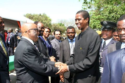Acting President Edgar Lungu greets former president of Botswana Festus Mogae during the Golden Jubilee celebrations at Freedom Statue in Lusaka on October 24,2014 -Picture by THOMAS NSAMA