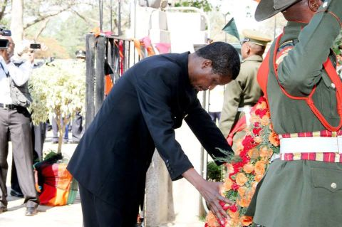 Acting President Edgar Lungu laying a wreath at the Freedom Statue during the Golden Jubilee celebrations in Lusaka on October 24,2014 -Picture by THOMAS NSAMA