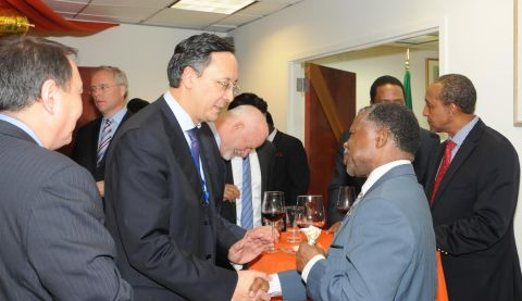 Ambassadors Kazakhstan, Namibia, Mozambique, Kenya, Fiji and other countries accredited to the UN at Zambia's Golden Jubilee reception in New York on 24 October2014. PHOTO| John Oko Nyaku