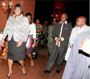 First Lady Dr Christine Kaseba arrives at Zambezi Sun Hotel for the 2014 ZNBC: ZICTA Debate Time Southern Africa Grand Finale in Livingstone on October 4,2014 -Picture by THOMAS NSAMA