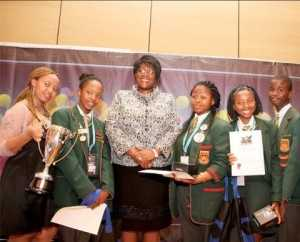 First Lady Dr Christine Kaseba with South Africa Debate team after the 2014 ZNBC: ZICTA Debate Time Southern Africa Grand Finale at Zambezi Sun International Hotel in Livingstone on October 4,2014 -Picture by THOMAS NSAMA