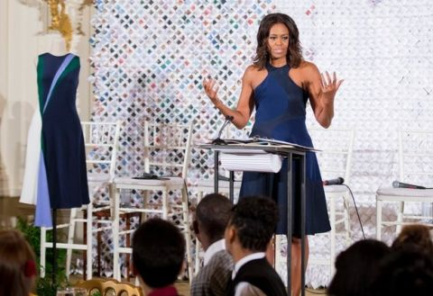First lady Michelle Obama speaks at the Fashion Education Workshop, Wednesday, Oct. 8, 2014, in the East Room of the White House in Washington.