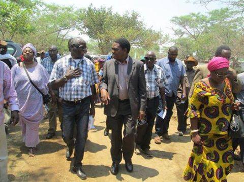 KULAMBA KUBWALO CEREMONY UPND Mwinilunga MP Hon. Katuka engages the President while Namwala MP Moono Lubezhi (red head dress) leads the way.Picture courtesy of WP