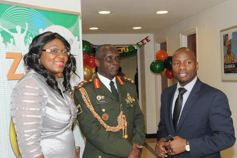 (L-R) Zambia's Ambassador to UN Mwaba Kasese-Bota, Military Advisor Brigadier General Erick Mwewa and First Secretary for Press and Public Relations Chibaula Silwamba at the Golden Jubilee reception in New York on 24 October2014.