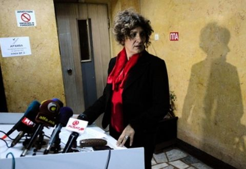 Macedonia's health ministry official, Dr Jovanka Kostovska, speaks to the media in Skopje. Photograph: Ogen Teofilovski/Reuters