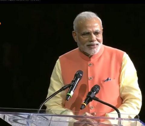 Screenshot of Mr. Narendra Modi giving his speech at Madison Square Garden on Sunday, 28 September, 2014.