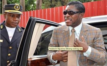 Teodorin Nguema Obiang, son of Equatorial Guinea's President Teodoro Obiang Nguema Mbasogo, arrives at Malabo's Cathedral to celebrate his birthday