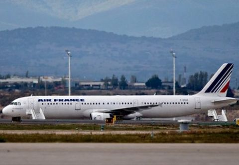 The Air France plane that carried the suspected Ebola patient. Photograph: Gonzalo Arroyo Moreno/Getty Images