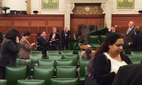 The Conservative party caucus room is shown with the door barricaded for safety, shortly after shooting began on Parliament Hill. Photograph- Nina Grewal:ReutersThe Conservative party caucus room is shown with the door barricaded for safety, shortly after shooting began on Parliament Hill. Photograph- Nina Grewal:Reuters
