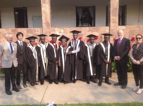 The graduation of seven students from Zambia who were taught on-line by tutors in the South West College in Omagh. (L-R) Liam McGrath, DAFA (Direct Aid for Africa), Mr Natsumi (staff member at Fatima High School). Graduates: Phales Mizinga, Francis Mutale, Philip Mushinge, Pauline Kabuswe, Patrick Chingaipe, Zachariah Manda and Obedient Kacheche and from South-West College Michael McAlister (deputy director) and Ciara Duffy (Virtual Services manager). - See more at: http://ulsterherald.com/2014/10/10/first-graduates-of-award-winning-education-project/#sthash.6tv7G0Zd.dpufThe graduation of seven students from Zambia who were taught on-line by tutors in the South West College in Omagh. (L-R) Liam McGrath, DAFA (Direct Aid for Africa), Mr Natsumi (staff member at Fatima High School). Graduates: Phales Mizinga, Francis Mutale, Philip Mushinge, Pauline Kabuswe, Patrick Chingaipe, Zachariah Manda and Obedient Kacheche and from South-West College Michael McAlister (deputy director) and Ciara Duffy (Virtual Services manager).