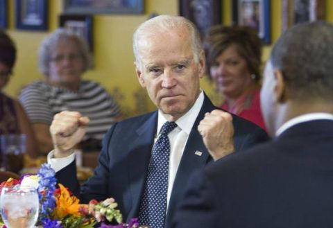 U.S. Vice President Joe Biden speaks with politicians and business owners in a round table discussion on raising the minimum wage at Casa Don Juan restaurant in Las Vegas, October 6, 2014. CREDIT: REUTERS/LAS VEGAS SUN/STEVE MARCUS