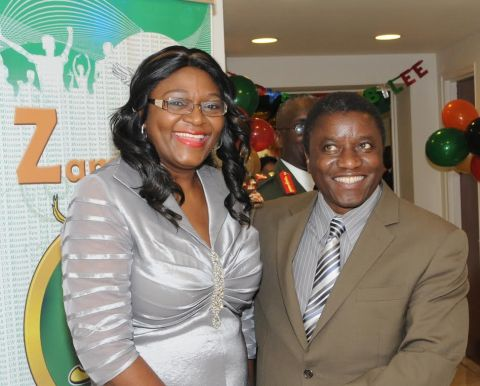 Zambia's Ambassador to the UN Mwaba Kasese-Bota welcomes UN Special Rapporteur on human rights of internally displaced persons Dr Chaloka Beyani at the Golden Jubilee reception for Ambassadors at Zambian Mission in New York