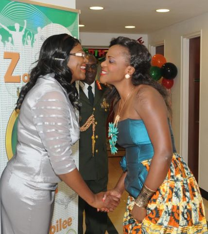 ambia's envoy to UN Mwaba Kasese-Bota (left) welcomes gospel musician Suwilanji for a performance at Golden Jubilee reception for Ambassadors at Zambian Mission in New York on 24 October2014. PHOTO| John Oko Nyaku