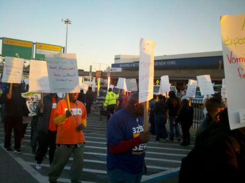 laguardia terminal d cabin cleaners on strike!