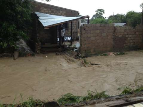 A HEAVY downpour that lasted for about two hours on Wednesday left a trail of destruction to several buildings and vehicles in Choma district.