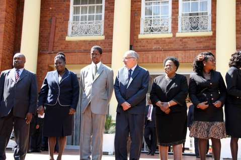 Acting President Dr Guy Scott, Defence and Justice minister Edgar Lungu, Acting Chief Justice Lombe Chibesakunda with newly sworn-in-Judges at State House on November 25,2014 -Picture by THOMAS NSAMA