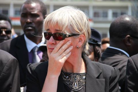 Acting President Dr Guy Scott spouse Charlotte on arrival of Presidfent Sata's Body at Kenneth Kaunda International Airport from London on November 1,2014 -Picture by THOMAS NSAMA
