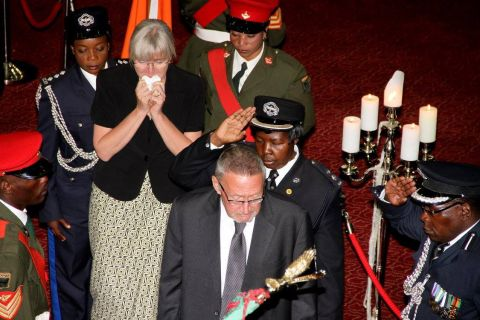 Acting President Dr Guy Scott with wife Charlotte Scott during the Body viewing ceremony of President Sata at Mulungushi International Conference Centre -Picture by THOMAS NSAMA