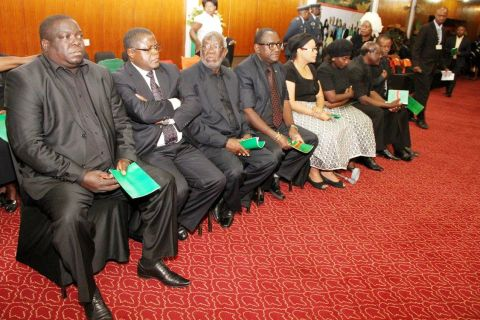 Cabinet ministers and some ministers wives during the Body viewing ceremony of President Sata at Mulungushi International Conference Centre -Picture by THOMAS NSAMA