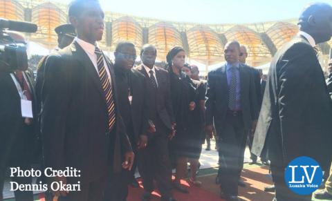 President Mugabe of Zimbabwe arrives at the National Heroes' Stadium