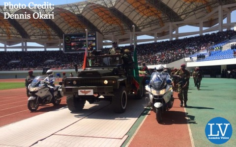 The body of Michael Sata enters the stadium