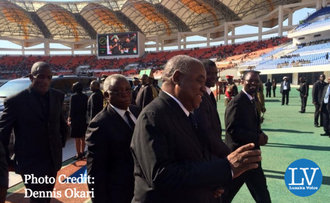 Former Zambian President, Rupiah Banda, arrives at the National Heroes' Stadium