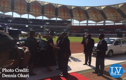 Duchess of Wessex arrives at the National Heroes' Stadium