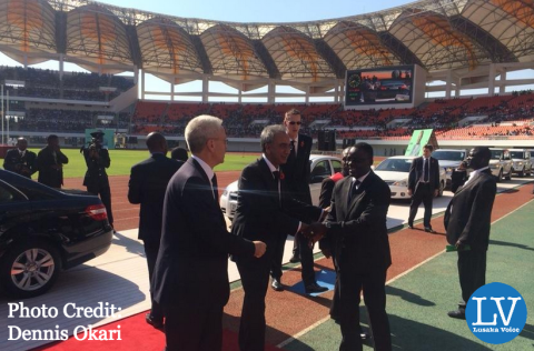 Lord Popat of Harrow arrives at the National Heroes' Stadium