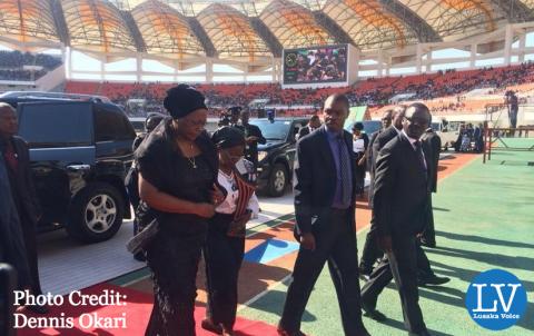 Dr. Kaseba arrives at the National Heroes' Stadium