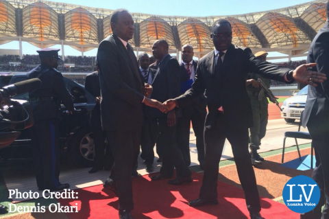 President Uhuru Kenyatta of Kenya arrives at the National Heroes' Stadium