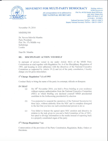 Disciplinary action letter against Dr Nevers Mumba