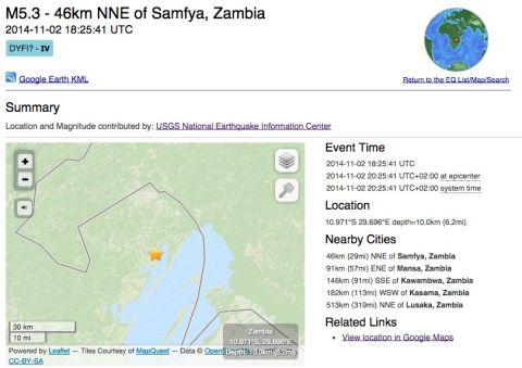 Earthquake magnitude 5.3 near Mansa, Zambia at 18-25 on Nov 2, 2014