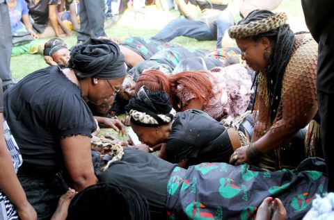 Impis from Eastern Province of Zambia join First Lady Dr Christine Kaseba in mourning during a funeral gathering to Celebrate President Sata's life at Showgrounds in Lusaka on Nov 6,2014