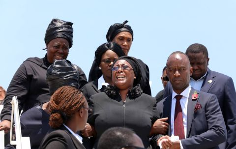 Jean Kapata, Mulenga Sata, Kalaba, arrival of Presidfent Sata's Body at Kenneth Kaunda International Airport from London on November 1,2014