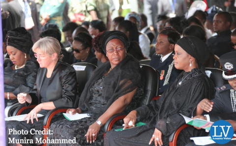 Dr. Kaseba during the requiem mass held for her late husband.