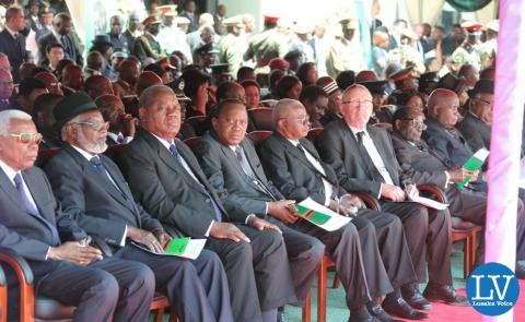 Heads of State sit at the Requiem Mass held for President Sata at the National Heroes Stadium; Rupiah Banda, Uhuru Kenyatta, Kenneth Kaunda, Mugabe