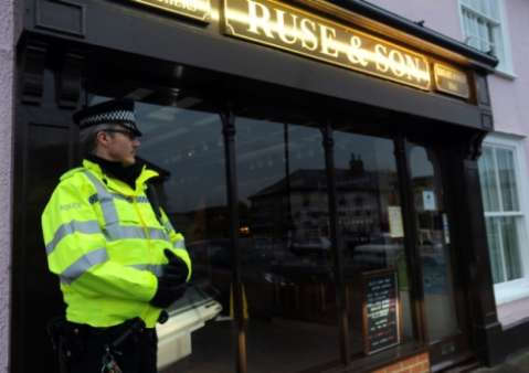 Police outside Ruse & Son butcher's.