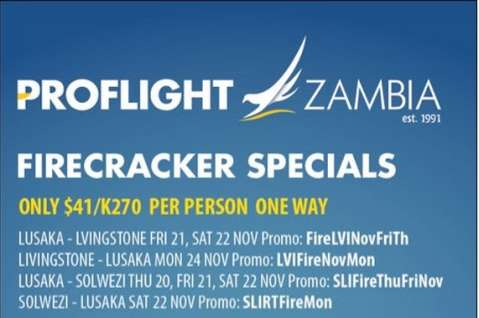 Proflight Zambia Firecracker Fares from K270 one way