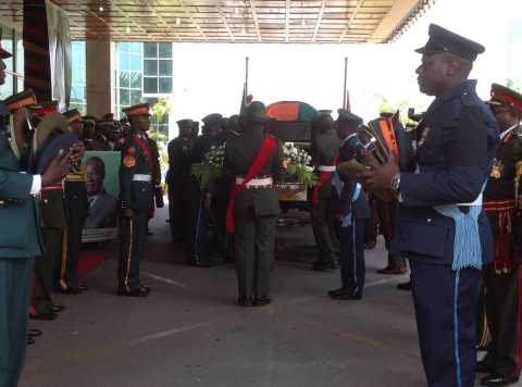 Casket - Michael Sata's body returns to Zambia