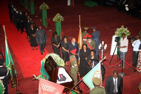 Supreme and High Court Judges during the Body viewing ceremony of President Sata at Mulungushi International Conference Centre -Picture by THOMAS NSAMA