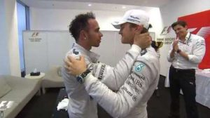 Touching embrace between Lewis Hamilton and Mercedes team boss Toto Wolff in the pre-podium room. And then a nice gesture from Nico Rosberg, who has headed up there to shake Hamilton's hand.