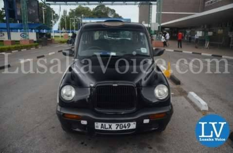 Zambia Discounts London Cab awaits Evelyn Odoro arriving in Lusaka