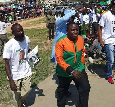 Minister of Youth and Sport Chishimba Kbwili and Foreign Affairs Minister Harry Kalaba arrive at the grounds
