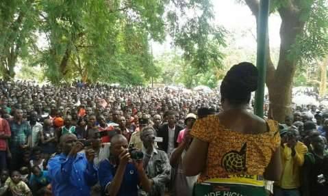 UPND Mrs Maureen Mwanawasa addressing the Mumbwa rally