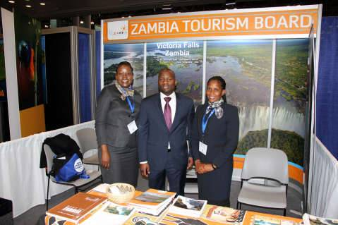 1. L-R. Zambia Tourism Board senior marketing manager Doris Kofi, Zambia UN Mission Chargé d'Affaires ad interim Chibaula Silwamba and Ministry of Tourism acting principal tourism development and research officer Chilala Habasimbi at the New York Travel Show on Friday 23 January, 201
