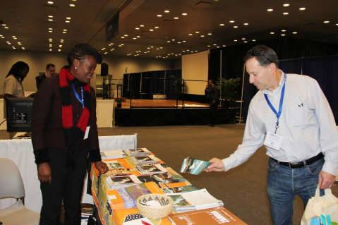 6. ZTB tourism promotions manager Angela Chimpinde, Zambia UN Mission Chargé d'Affaires ad interim Chibaula Silwamba and Zambia Tourism Board senior marketing manager Doris Kofi at the New York Times Travel Show on Friday 23 January, 2015.