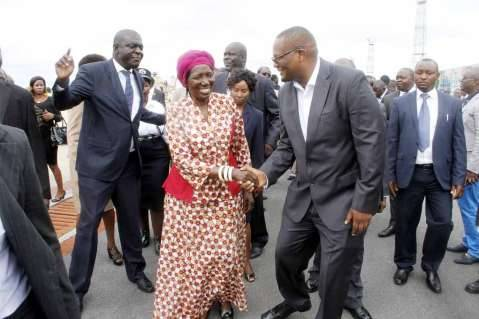 Acting President Inonge Wina greets Emmanuel Mwamba after seeing- off President Lungu at Kenneth Kaunda International Airport who left for Addis Ababa, Ethiopia for the African Union Summit on January 29,2015 -Picture by THOMAS NSAMA
