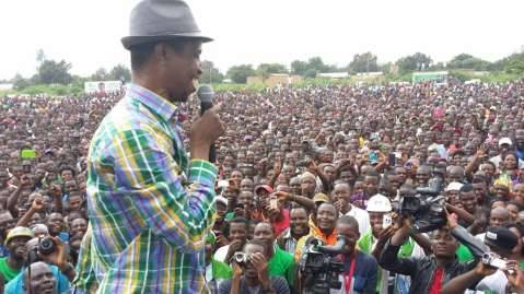 PF President Edgar Lungu in a jovial mood addresses the mammoth Solwezi Rally