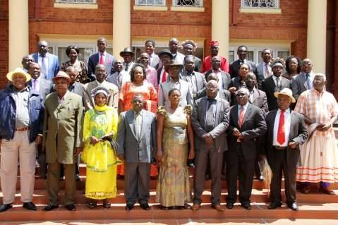 President Edgar Chagwa Lungu, Vice-President Inonge Wina, PF Secretary General Davies Chama with Chiefs from Luapula, North-Western Province and Eastern Province when they paid a courtesy call on him at State House where they congratulated him for winning the January 20th Presidential elections on January 27,2015-Picture by THOMAS NSAMA